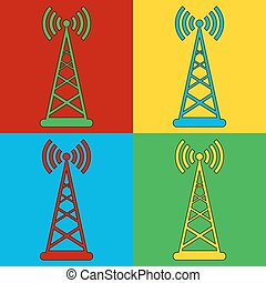 Pop art transmitter symbol icons Vector illustration