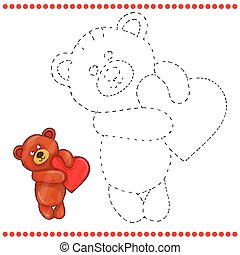Connect the dots and coloring page - teddy bear