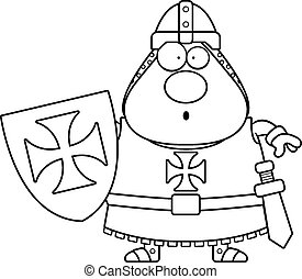 Surprised Cartoon Templar - A cartoon illustration of a...