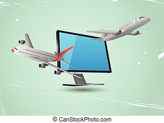 monitor airplane - illustration of planes that goes out from...