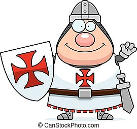 Cartoon Templar Waving - A cartoon illustration of a Templar...