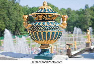 Vintage vase against Fountains of Petergof, Saint...