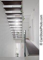 house hall stairs and glass balustrade - house hall with...