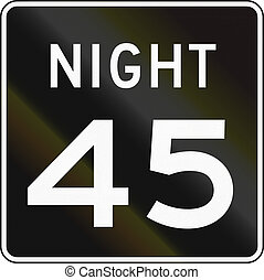 Night Speed Limit Sign - United States speed limit during...