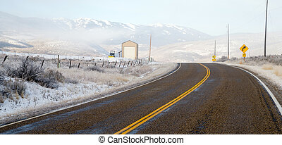 Fresh Snow Blankets Hillside Rural Country Scene Two Lane Road