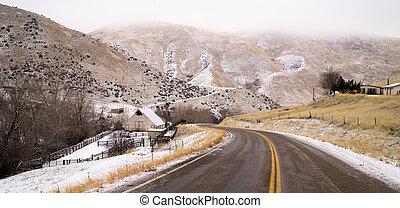 Fresh Snow Blankets Hillside Rural Country Scene Two Lane...