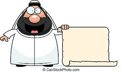 Cartoon Sheikh Sign - A cartoon illustration of a sheikh...
