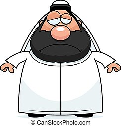 Sad Cartoon Sheikh - A cartoon illustration of a sheikh...