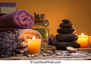 Spa still-life - Spa still-life with stacked of stone and...