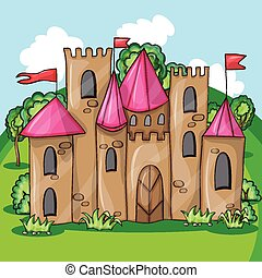 Cartoon fairy tale castle - funny vector illusrtation