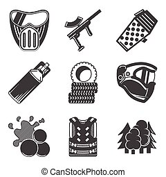 Paintball black vector icons - Set of black silhouette flat...