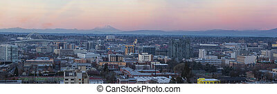 View of Portland Pearl District Cityscape at Sunset - View...