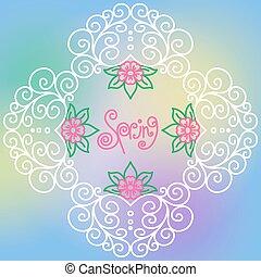 vector spring pattern of spirals, swirls, chains