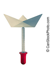 Save water concept with Dropper and Origami paper boat