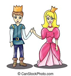 Cartoon vector - Prince and Princess in love
