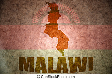 malawi vintage map - malawi map on a vintage malawi flag...