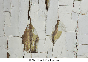 Lead Paint Chips - Old and hazardous lead paint in cracking...