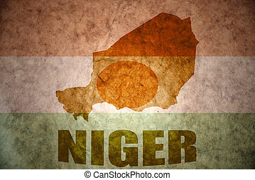 niger vintage map - niger map on a vintage niger flag...