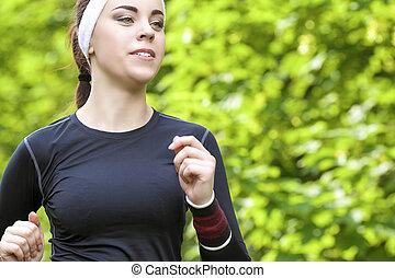 Sport Concept: Closeup of Positive Caucasian Fit Woman...