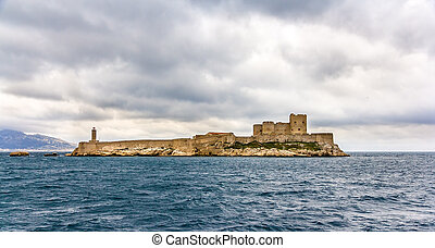 View of the Chateau d'If in the Mediterranean sea - France