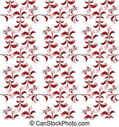 Red Floral Print Pattern - Digital collage technique red...