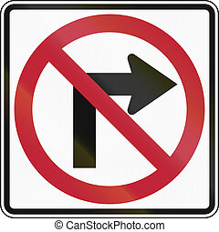 No Right Turn - United States traffic sign: No Right Turn