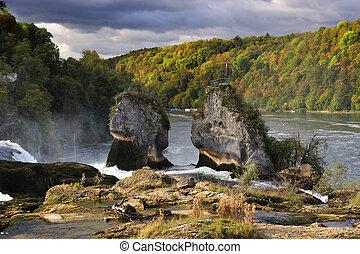 Rhine Falls (Rheinfall) at Schaffhausen in Switzerland