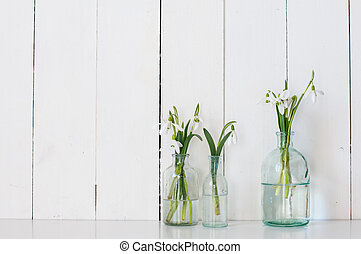 spring flowers - White spring flowers snowdrops in vintage...