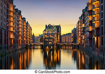 The Speicherstadt in Hamburg - The famous Wasserschloss in...