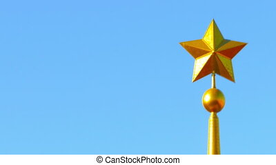 Metal star on top of obelisk - Metal star on top of the...