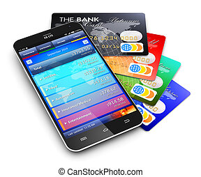 Mobile banking and finance concept - Creative abstract...