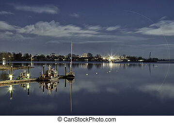 Blue Sky On Water At Night