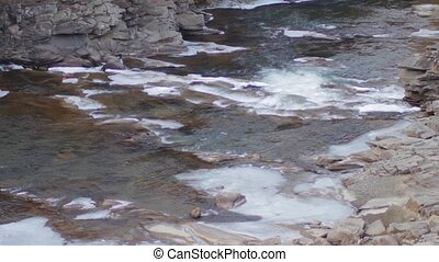 Mountain river runs rapidly - Beautiful creek flowing fast...