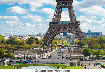 Paris eiffel tower - lower part of the Eiffel tower in...