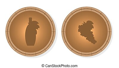 Two, isolated, brown round signs - wine grape, bottle