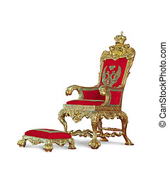 Golden, emperor\'s, Throne, Isolated, white, clipping, path