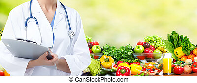 Diet and health care - Medical doctor woman over Diet and...