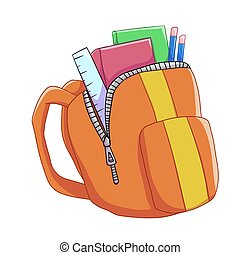 schoolbag - illustration of a school bag containing...