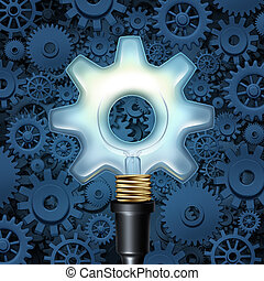Light Bulb With Gears - Light bulb with gears business...