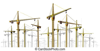 Cranes at Construction Site - Cranes at construction site...