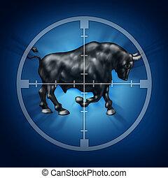 Bull Market Target - Bull market target as crosshairs for...