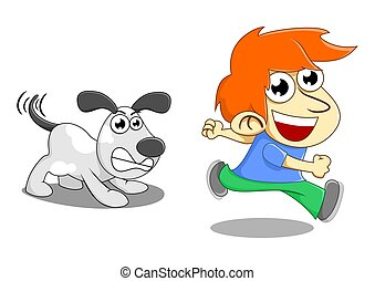 dog chase - illustration of a boy playing with his dog