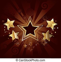 star on a brown background - dark star with gold stars on...