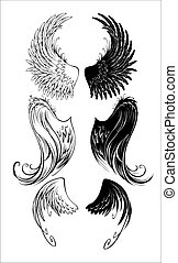stylized angel wings - artistically painted angel wings on a...