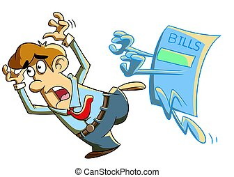 Bills Chasing a Person - illustration of someone who fears...