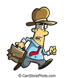 hurry - illustration of a person who was running briskly