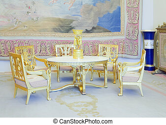 Interiors of Winter Palace with vintage tapestry
