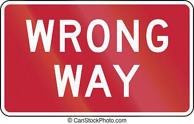 Wrong Way - United States traffic sign: Wrong Way