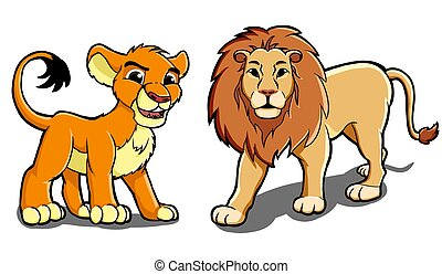 Lion family - Illustration of two male and female lions are...