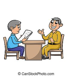 consultation - illustration of two people who are consulting